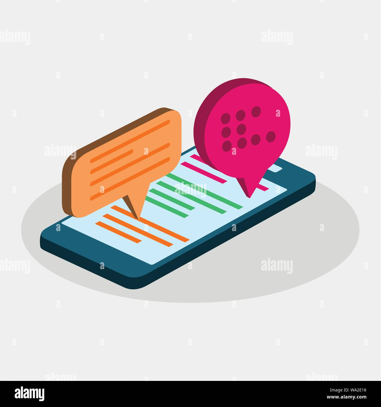 Isometrica chat mobile application concetto illustrazione vettoriale Illustrazione Vettoriale