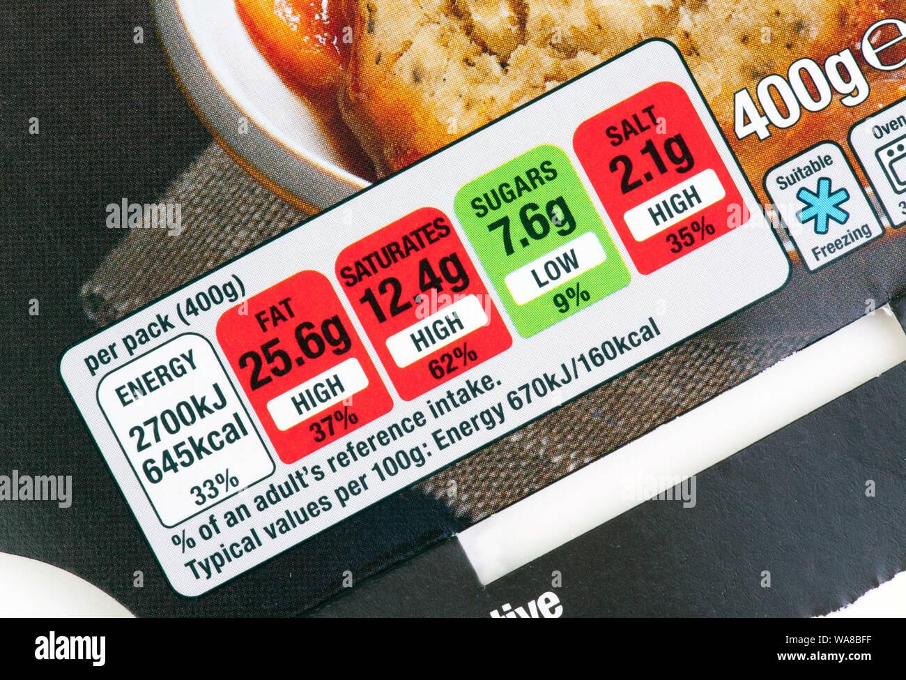 Nutrizione alimentare Contenuto etichetta Foto Stock