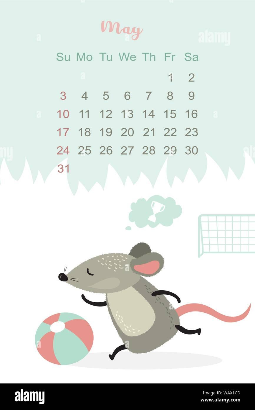 Calendario Mese Di Maggio 2020.Mese Di Maggio 2020 Progettazione Del Modello Calendario