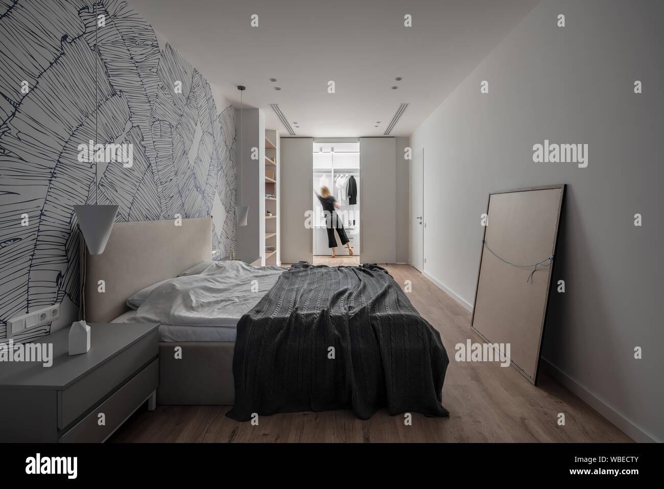 Camere Da Letto Ultramoderne camere da letto moderne con pareti bianche con modelli e un