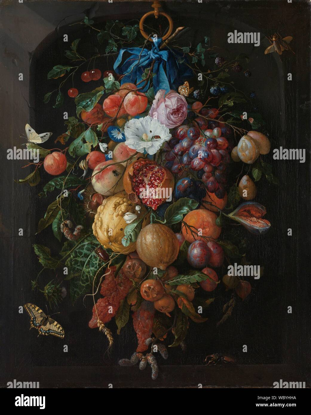 Festone di fiori e frutti, Jan Davidsz de Heem, 1660 n 1670.jpg - WBYHHA Foto Stock