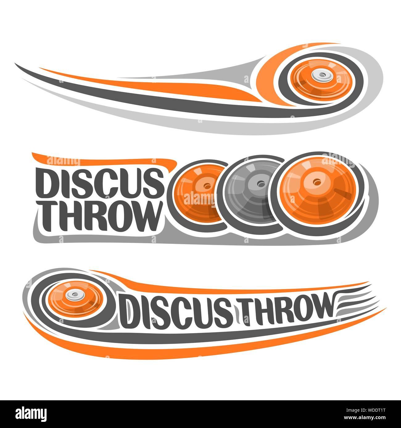 Il logo del vettore per atletica discus throw, consistente di disco battenti sulla traiettoria, 3 sport grigio e arancione gettando i dischi. Atletica leggera eq Illustrazione Vettoriale