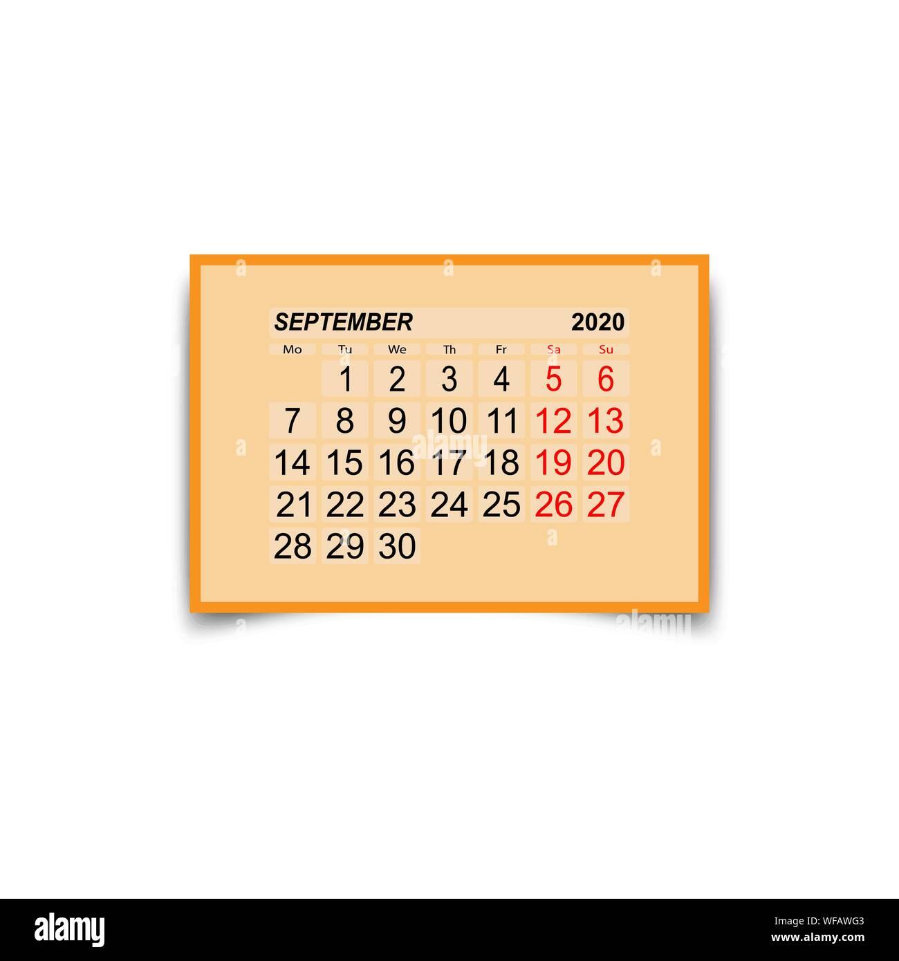 Calendario Settembre2020.2020 Calendar Immagini 2020 Calendar Fotos Stock Alamy