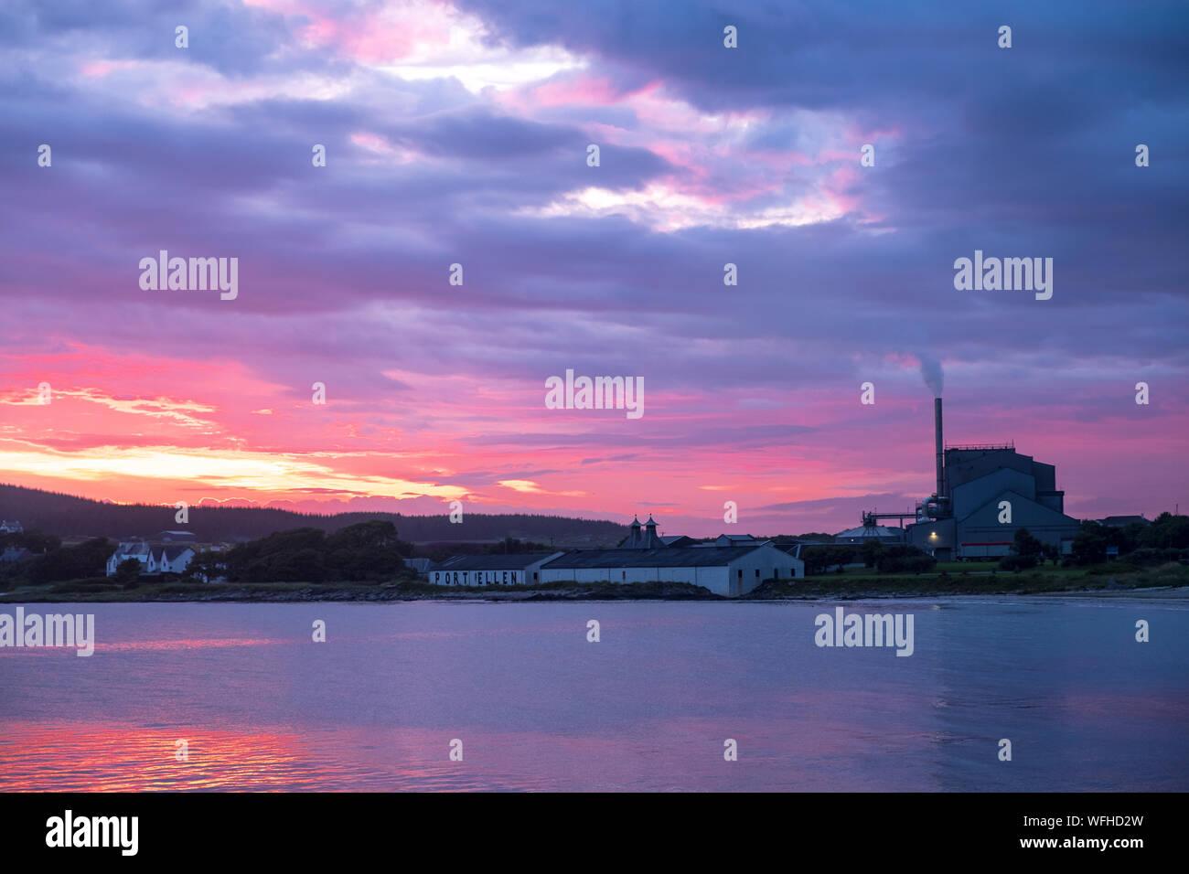 Tramonto a Port Ellen, Islay Foto Stock