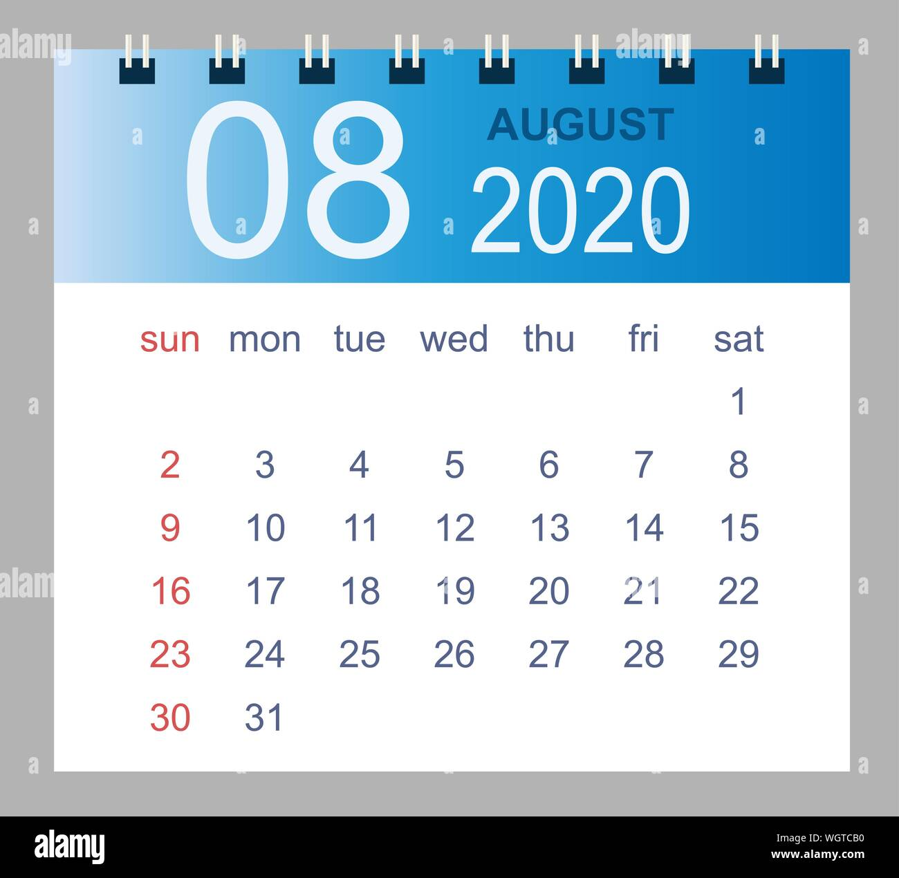 Calendario Mensile Agosto 2020.Simple 2020 Year Calendar Week Immagini Simple 2020 Year