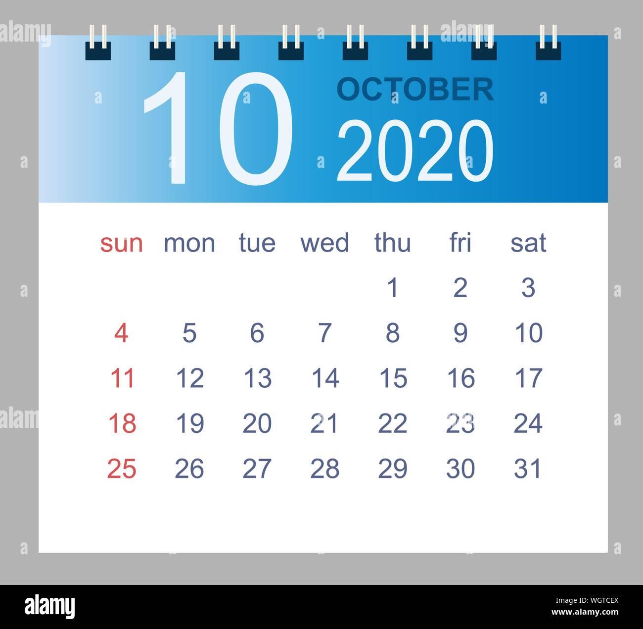 Calendario Mese Ottobre 2020.Simple 2020 Year Calendar Week Immagini Simple 2020 Year