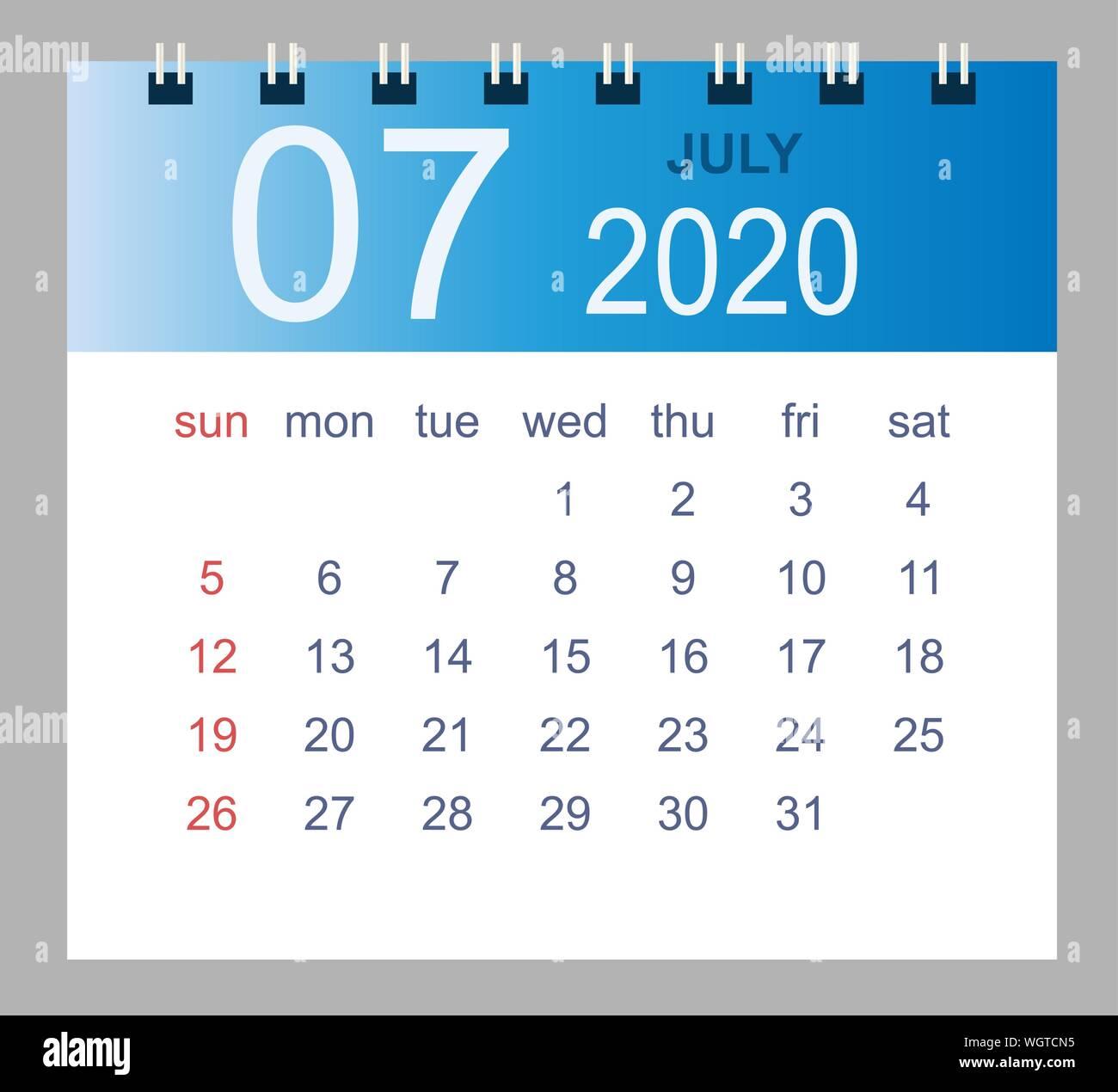 Calendario Luglio 2020 Da Stampare.Simple 2020 Year Calendar Week Immagini Simple 2020 Year