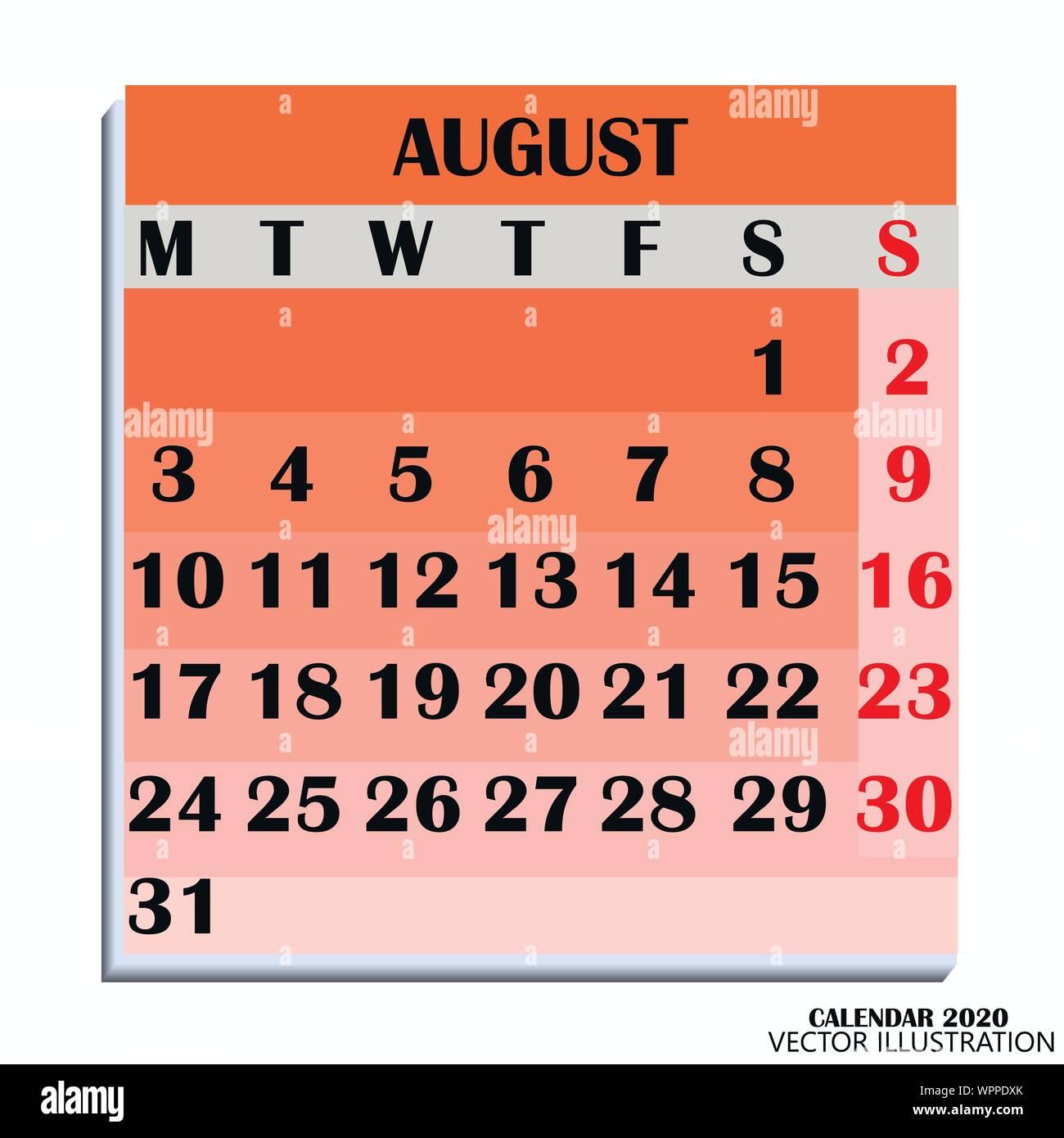 Calendario Di Agosto 2020.Calendar Month August Immagini Calendar Month August Fotos