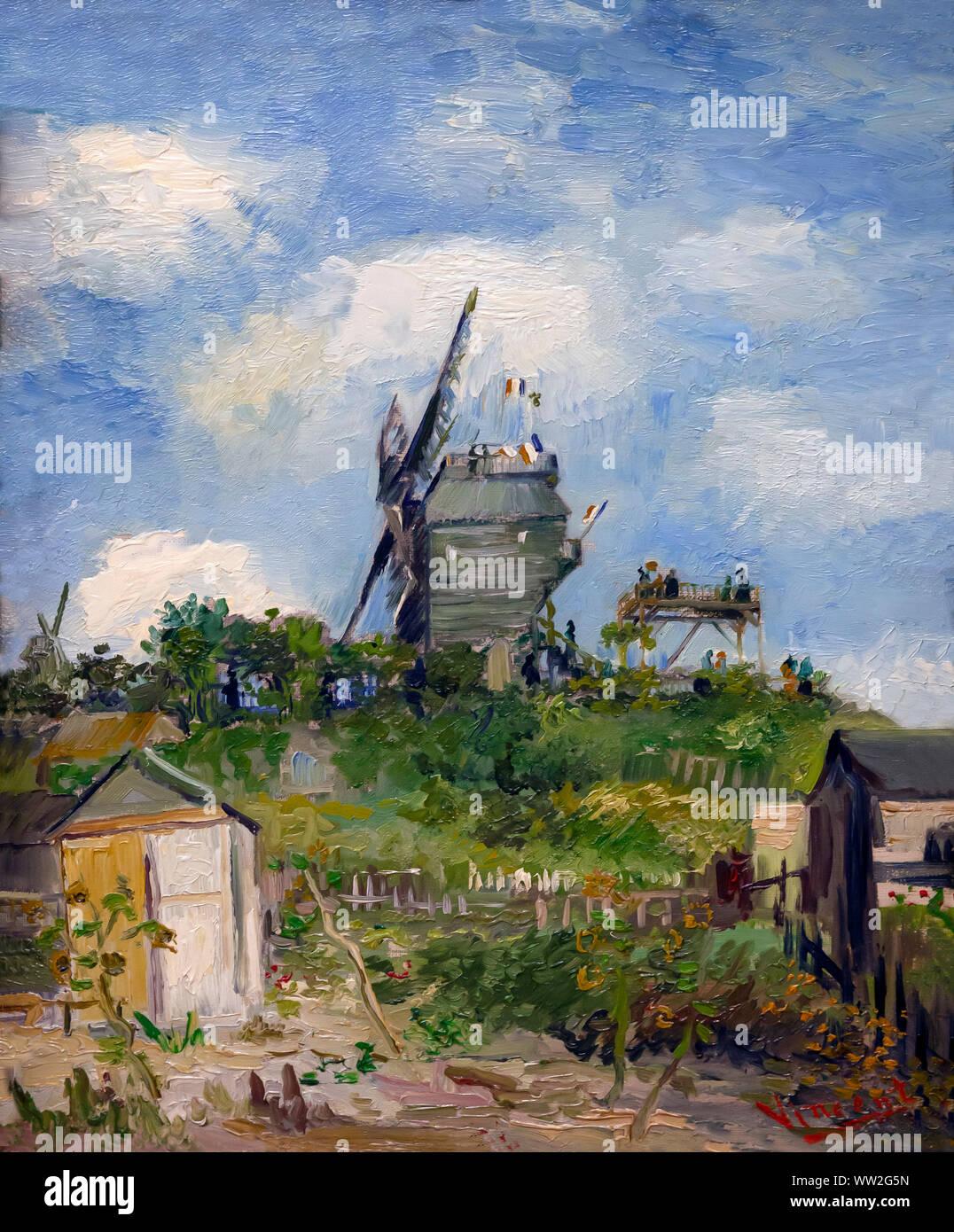 Il mulino a vento Blute-Fin, Montmartre, Vincent van Gogh, 1886, Foto Stock