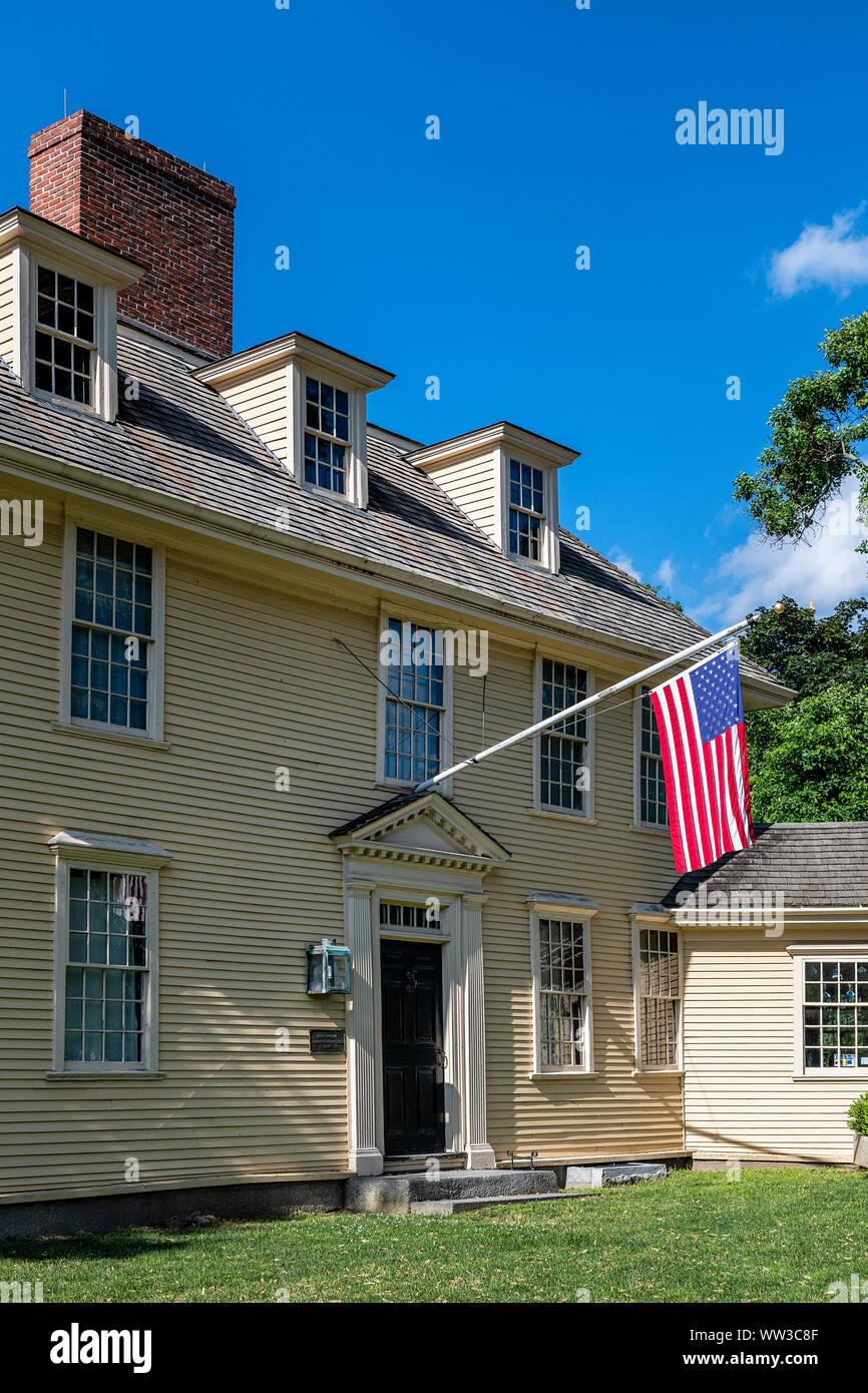 Historic Buckman Tavern, Lexington, Massachusetts, STATI UNITI D'AMERICA. Foto Stock