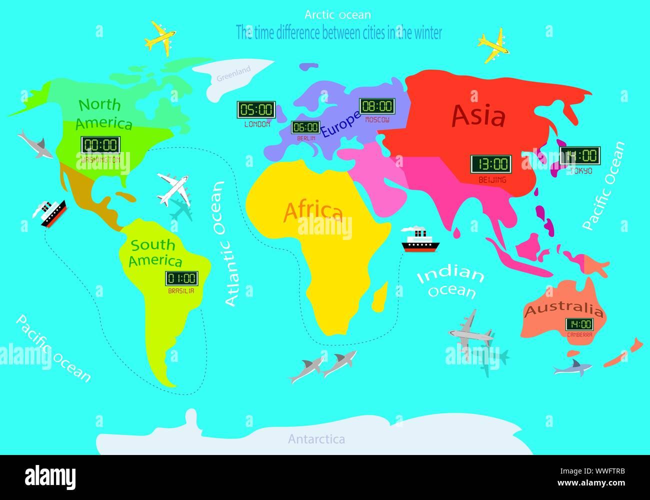 Cartina Fusi Orari Mondo.Mappa Del Fuso Orario Immagini E Fotos Stock Alamy