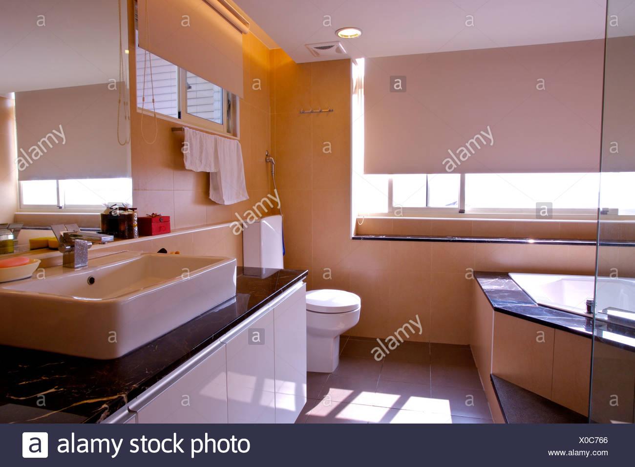 Vasche Da Bagno Stile Moderno : Stile moderno bagno con wc e vasca da bagno foto & immagine stock