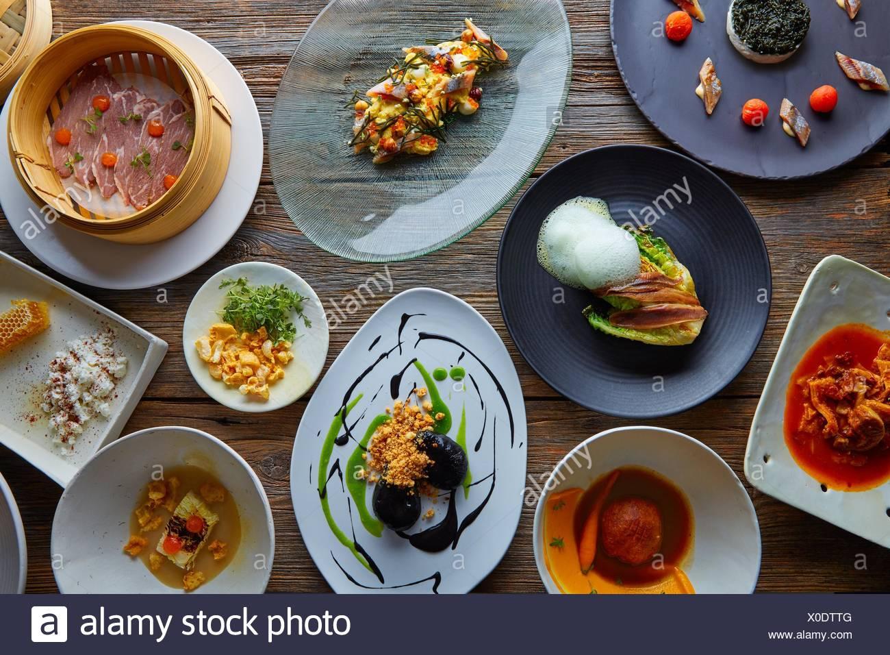 Gastronomia Molecolare Di Varieta Di Ricette Di Cucina Moderna Foto