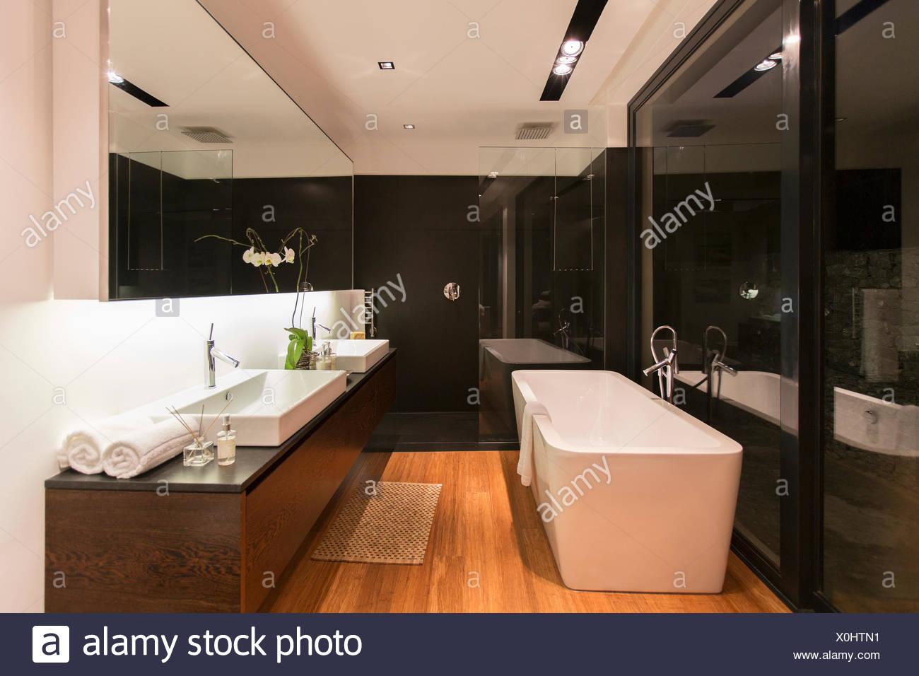 Lavandini da bagno moderni : Vasca da bagno e il lavandino in bagno moderno foto & immagine stock