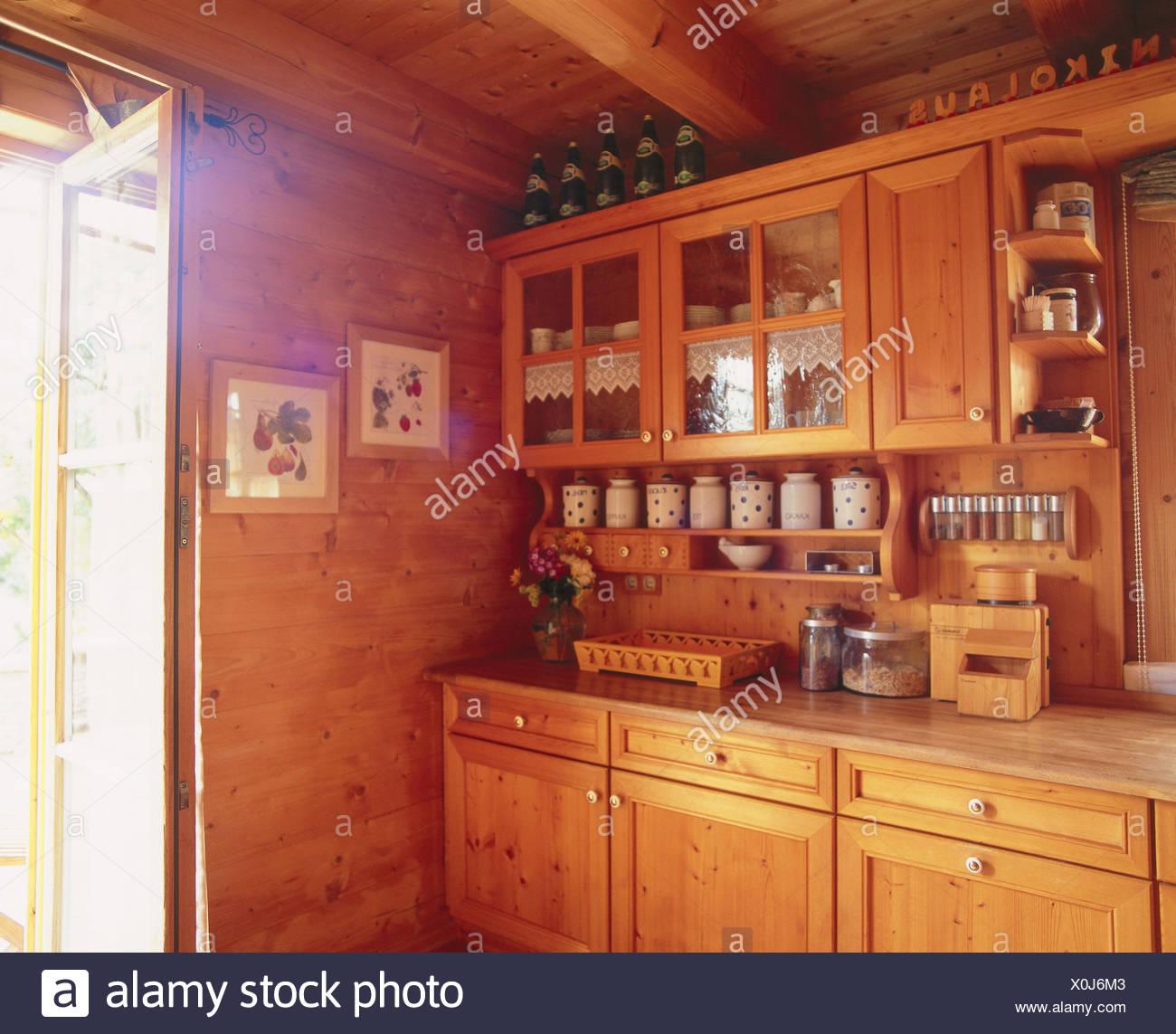 Unità di cottura, parete rurale, Rivestimento parete, legno, pareti ...