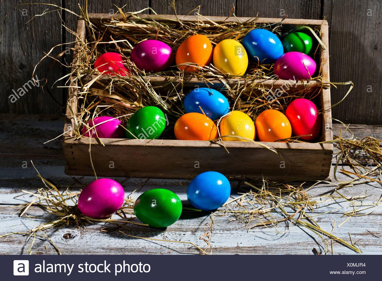 Scatola in legno di colore lucido uova di Pasqua sulla terra in legno Immagini Stock