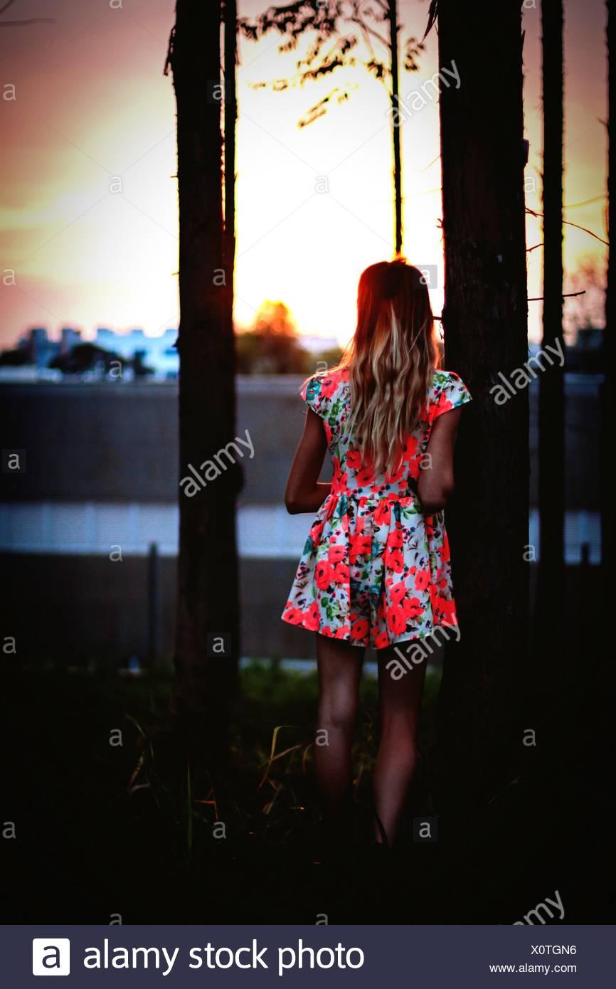 Vista posteriore di una ragazza che indossa abiti floreali in piedi mediante una struttura ad albero Immagini Stock