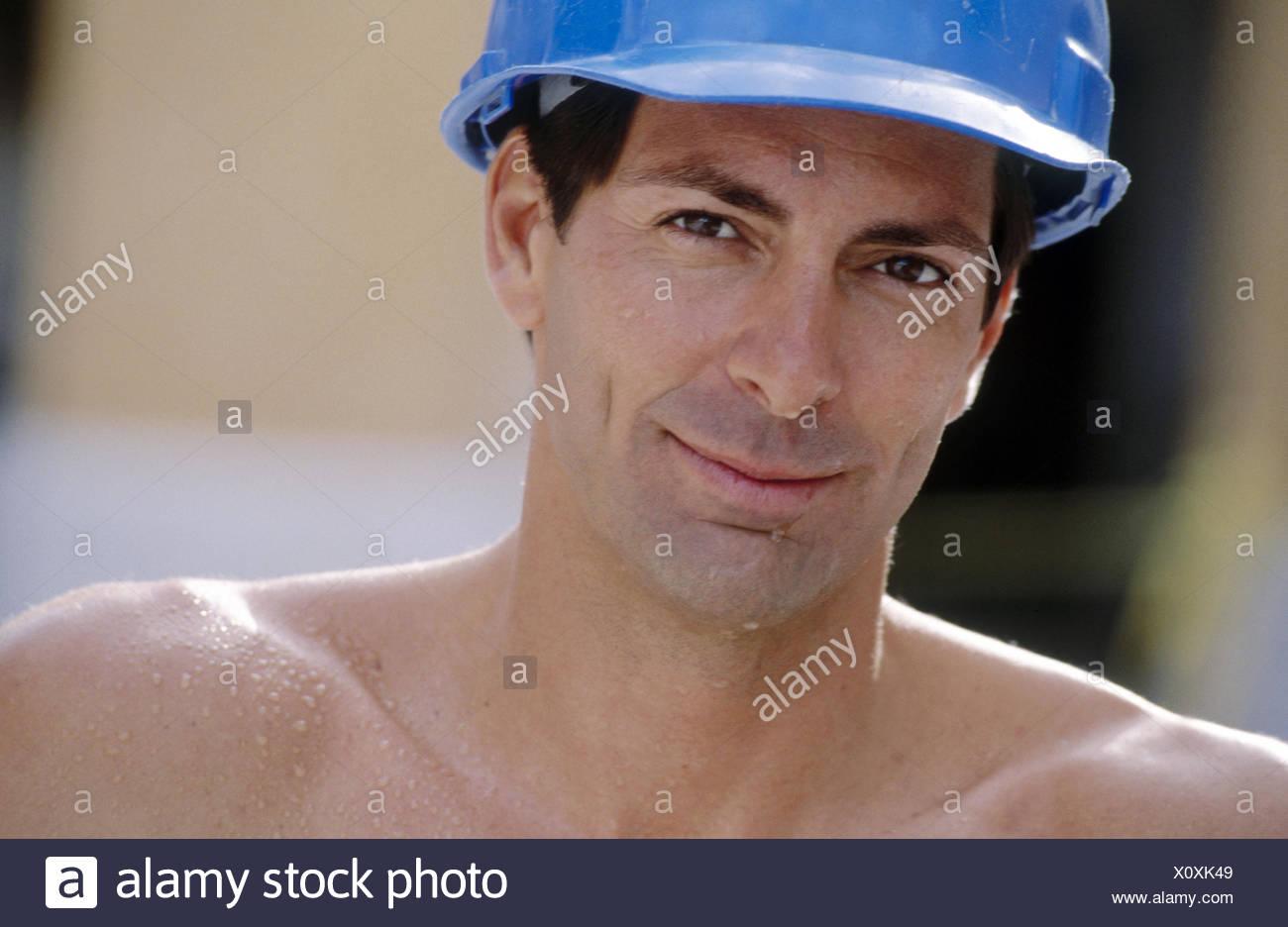 Collare blu lavoratore il ritratto Immagini Stock