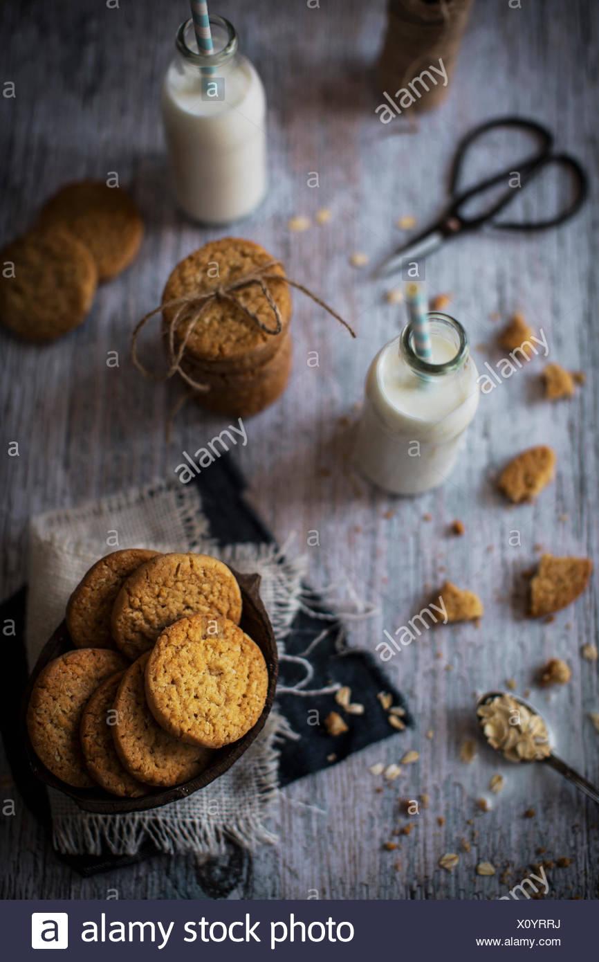 Dolce e croccante di biscotti di noce di cocco con un nubby texture e una persistente e sapore burroso. Immagini Stock