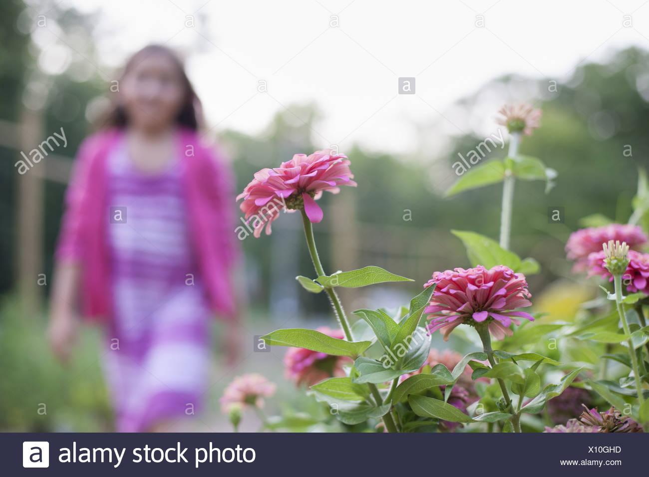 Woodstock New York STATI UNITI D'AMERICA giovane ragazza abito rosa a camminare lungo il letto di fiori Immagini Stock