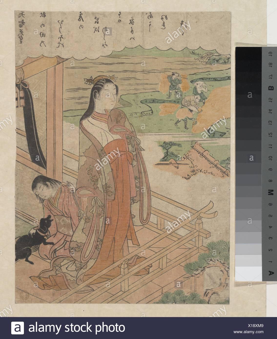 Ç™¾äººä' 逦-À€å¤©ae™ºå¤©çš‡/simpatia. Artista: Suzuki Harunobu (giapponese, 1725-1770); Periodo: Periodo Edo (1615-1868); data: ca. 1768; Cultura: Giappone; Immagini Stock
