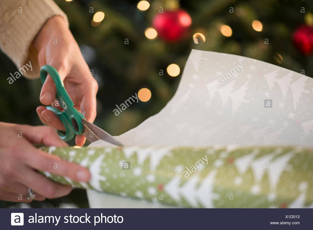 Studio shot delle donne con le mani in mano il taglio della carta da imballaggio Immagini Stock