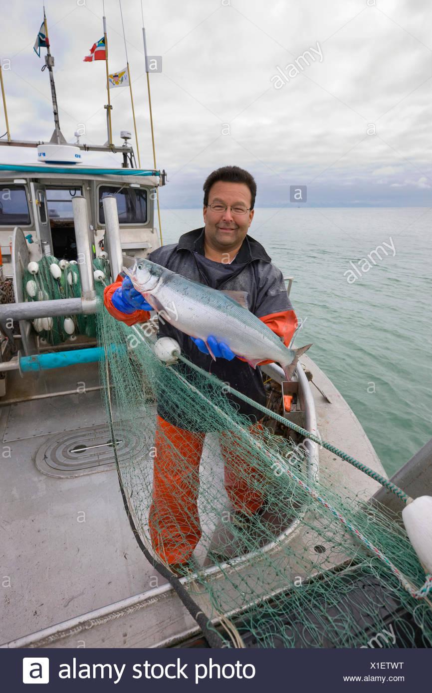 40's,adulto,Alaska,collare blu,barca,catturare,catturati Immagini Stock