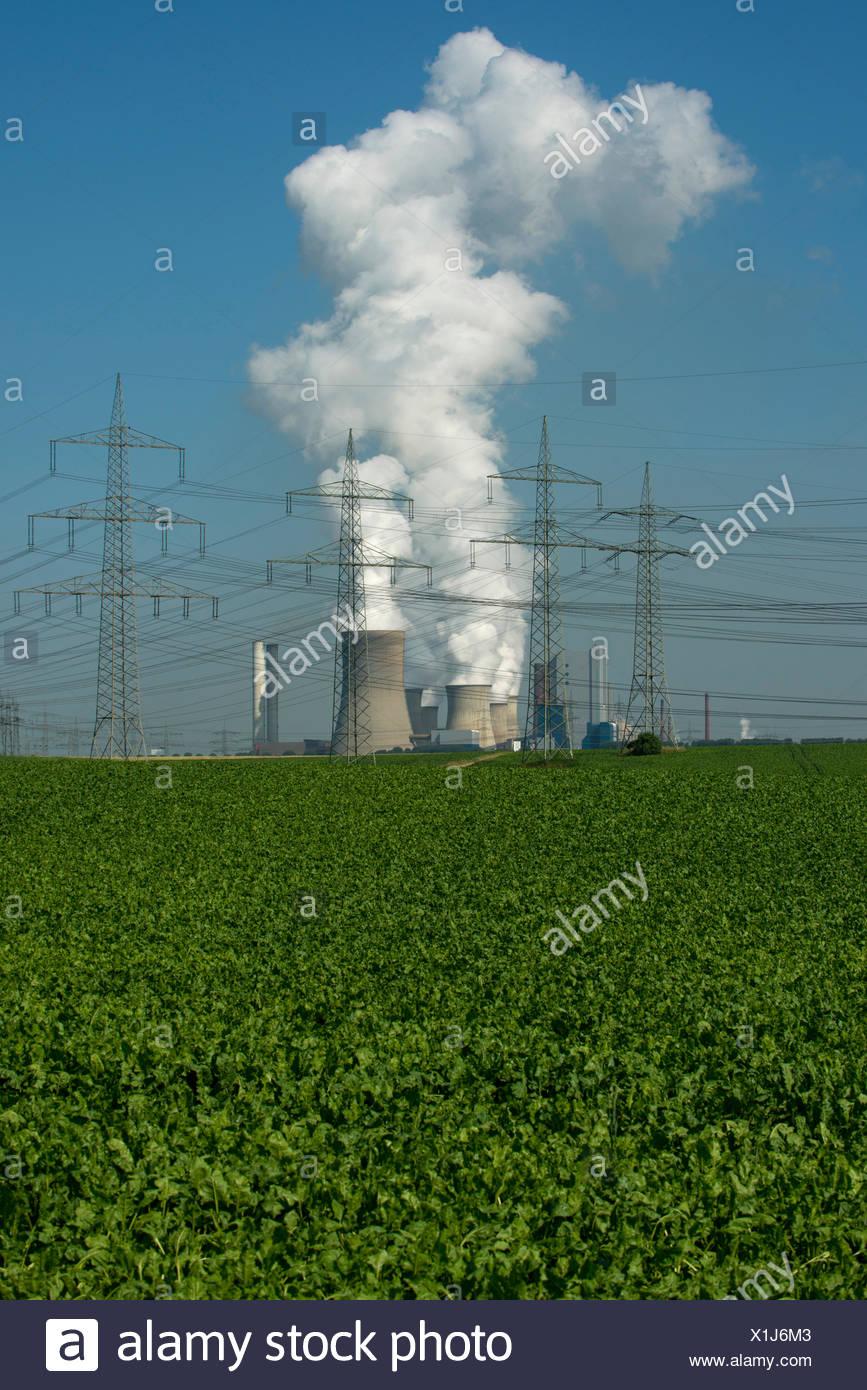 Le linee elettriche ad alta tensione nella parte anteriore della lignite power plant di Bergheim-Niederaußem, seminativi nella parte anteriore Immagini Stock