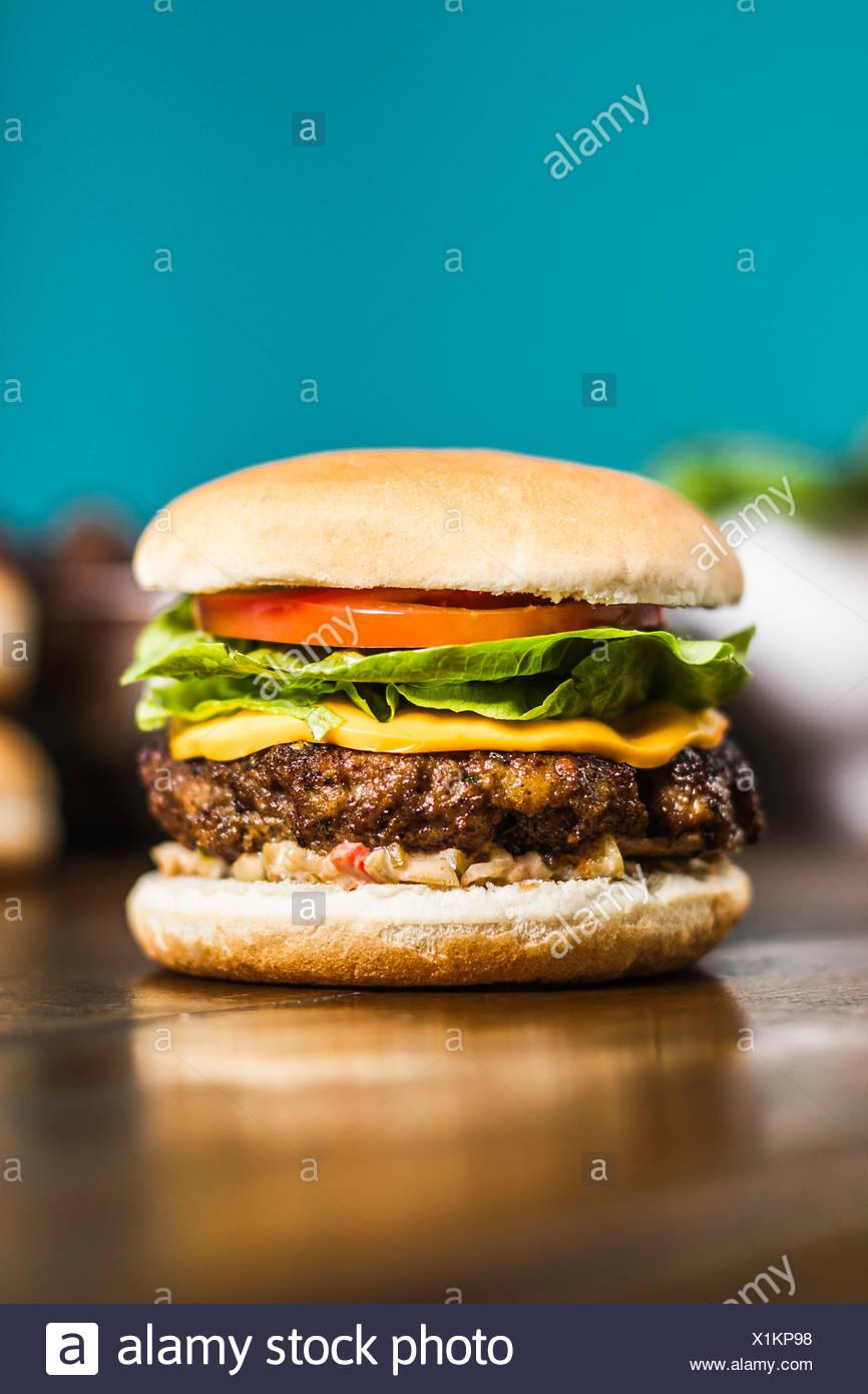 Close up cheeseburger Foto Stock