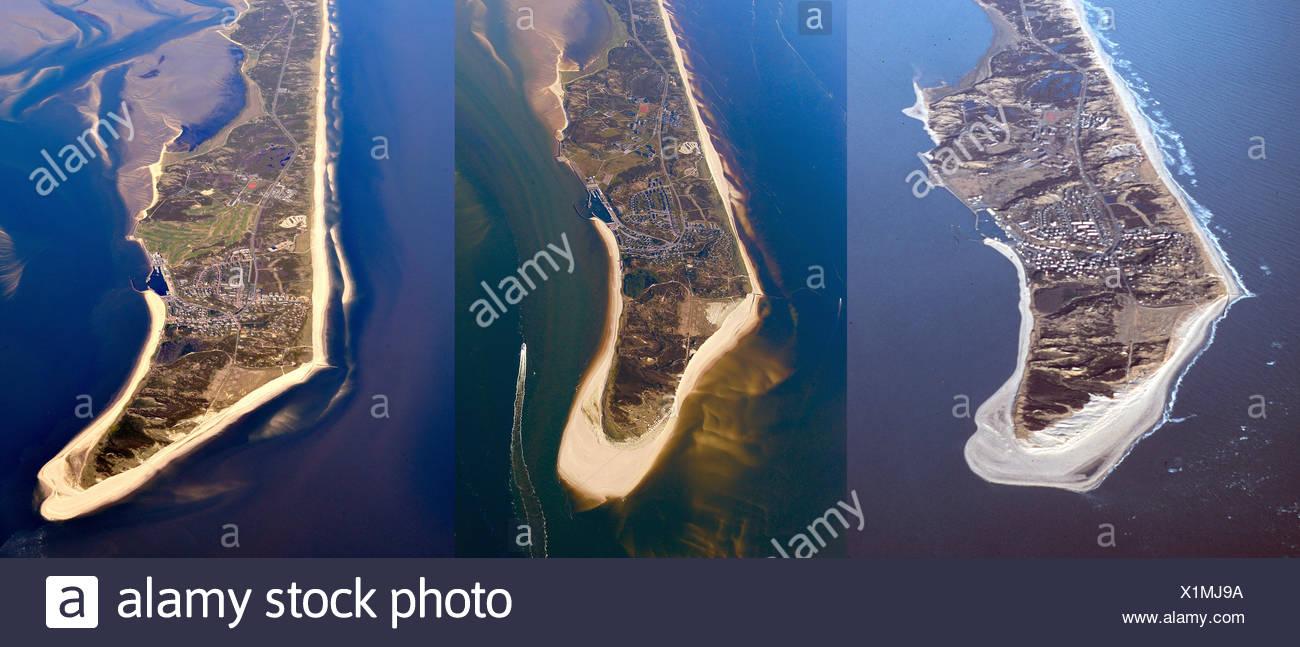 Vista aerea, punta meridionale di Sylt, confronto di immagine degli anni 2000, 2005, 2010, Sylt, Schleswig-Holstein, Germania Immagini Stock
