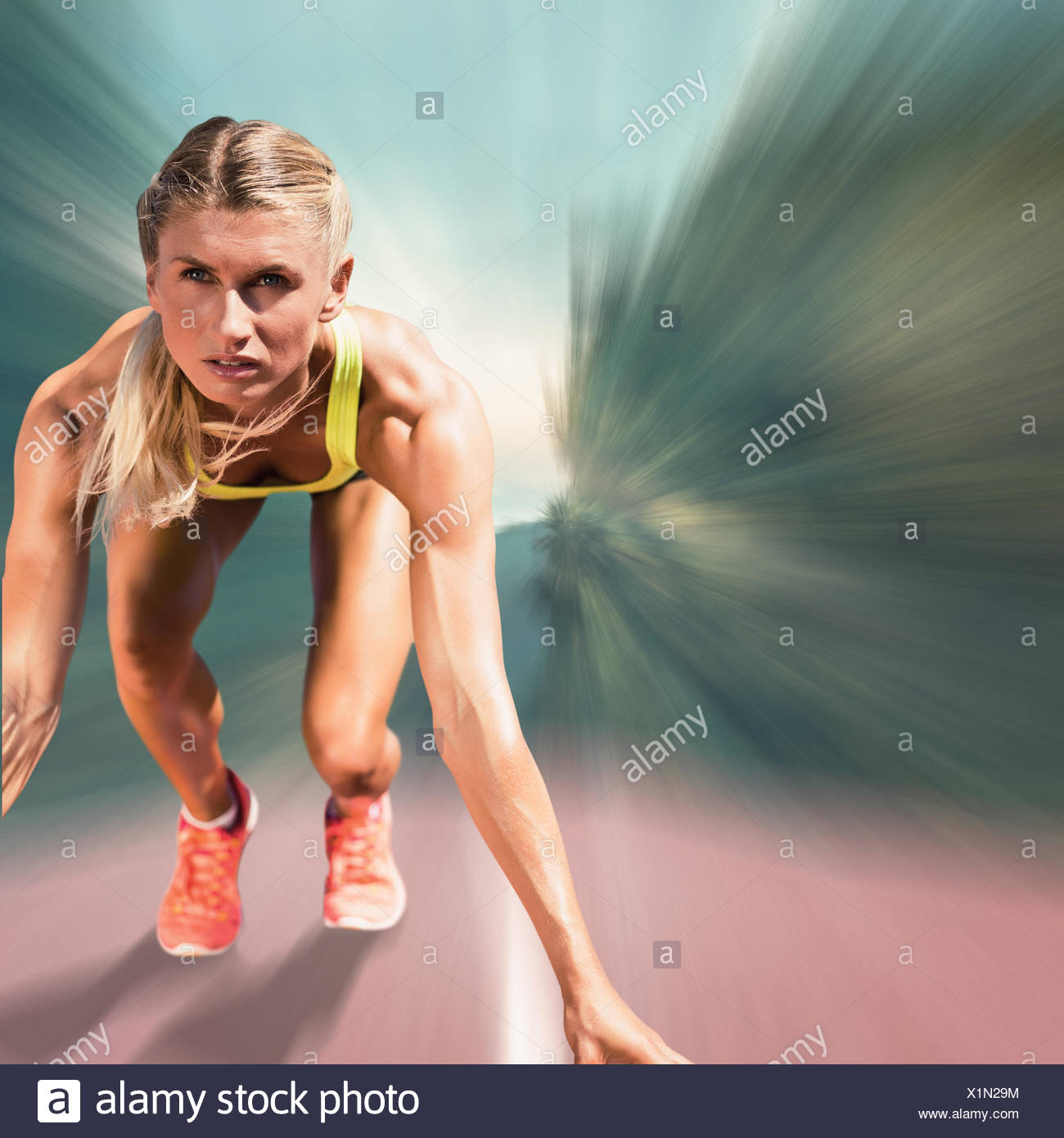 Immagine composita di sportive a partire da sprint Immagini Stock