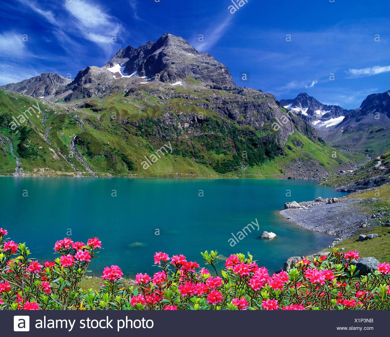 Austria, Europa Tyrol, St. Anton am Arlberg, lago di cartello, Küchelspitze, Faselfadspitzen, lago di montagna, il potere di acqua, acqua, lak Immagini Stock