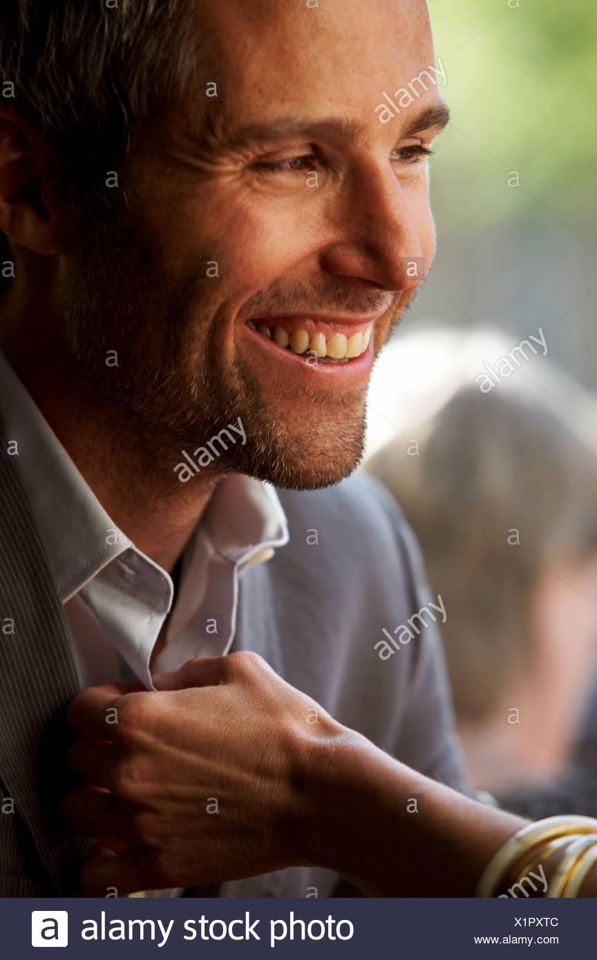 Un uomo sorridente Copenhagen DANIMARCA. Immagini Stock