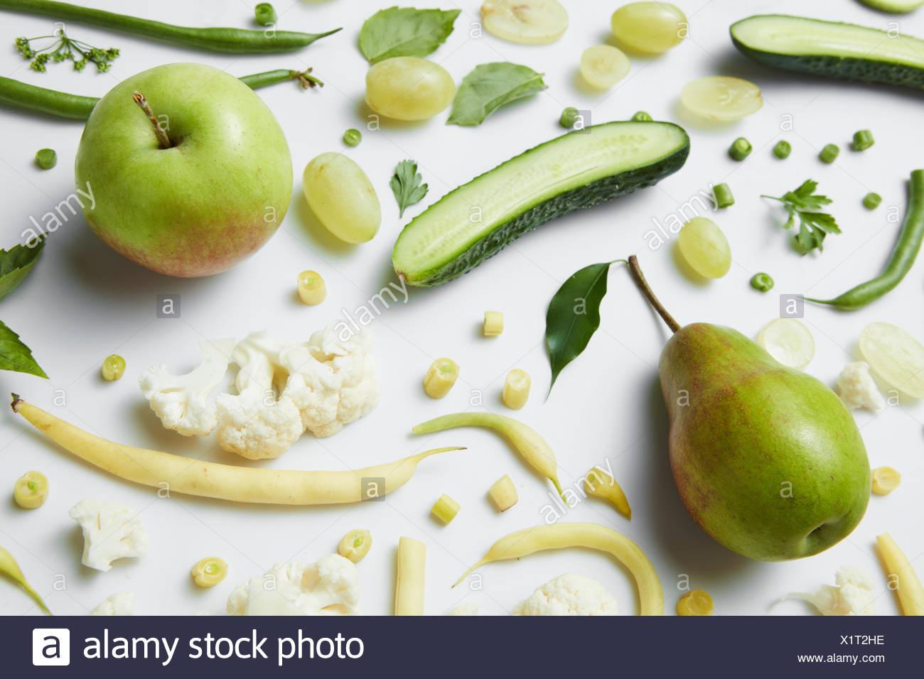 Verde e fresco di frutta e verdura Immagini Stock