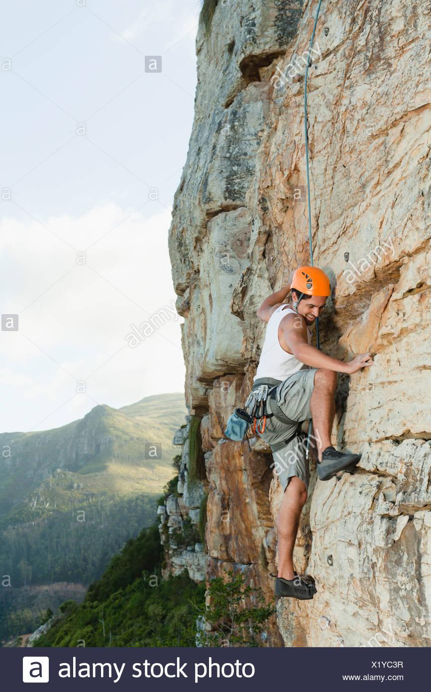 Scalatore scala ripida roccia Immagini Stock