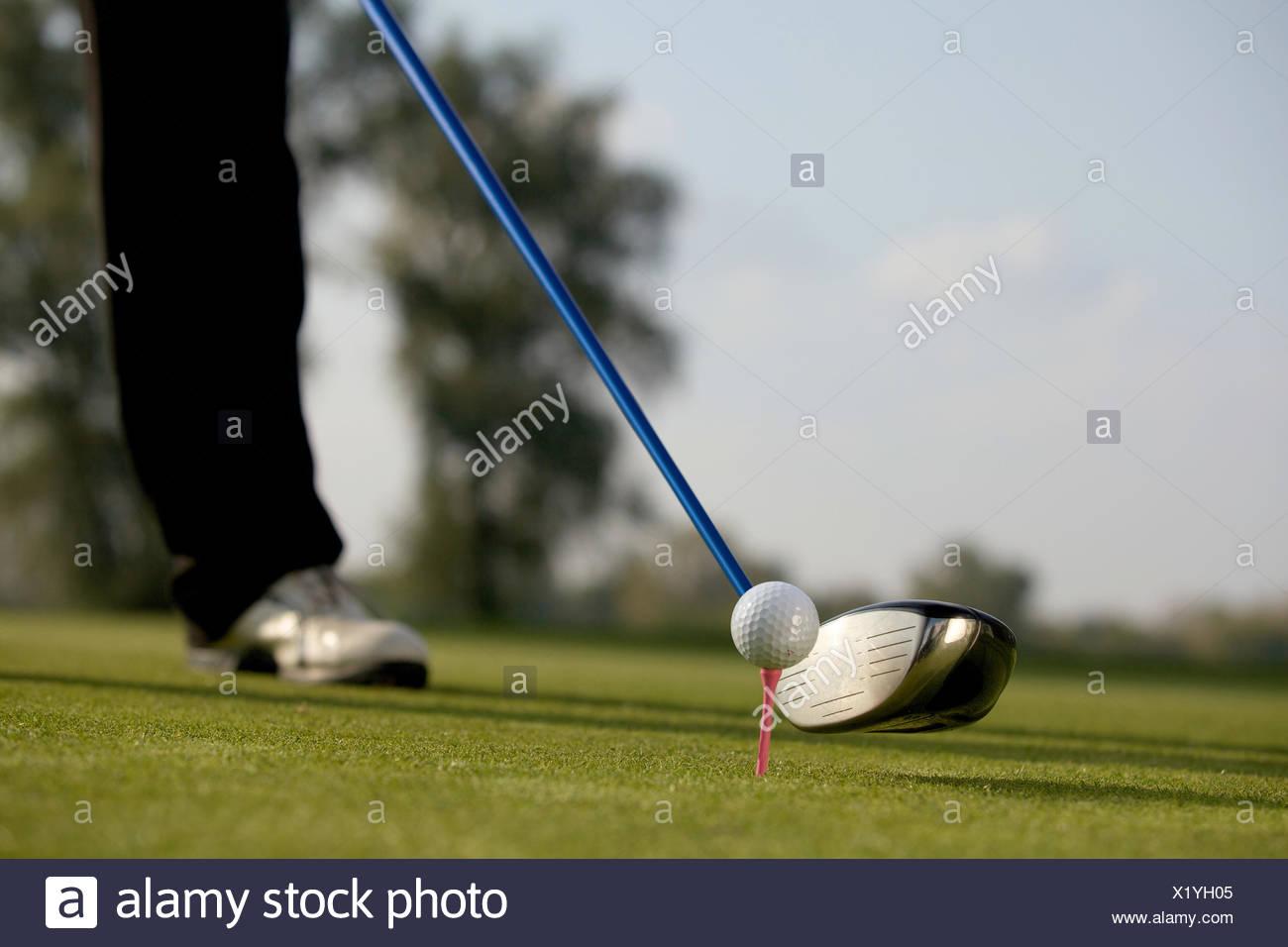 Persona giocando a golf, sezione bassa Immagini Stock