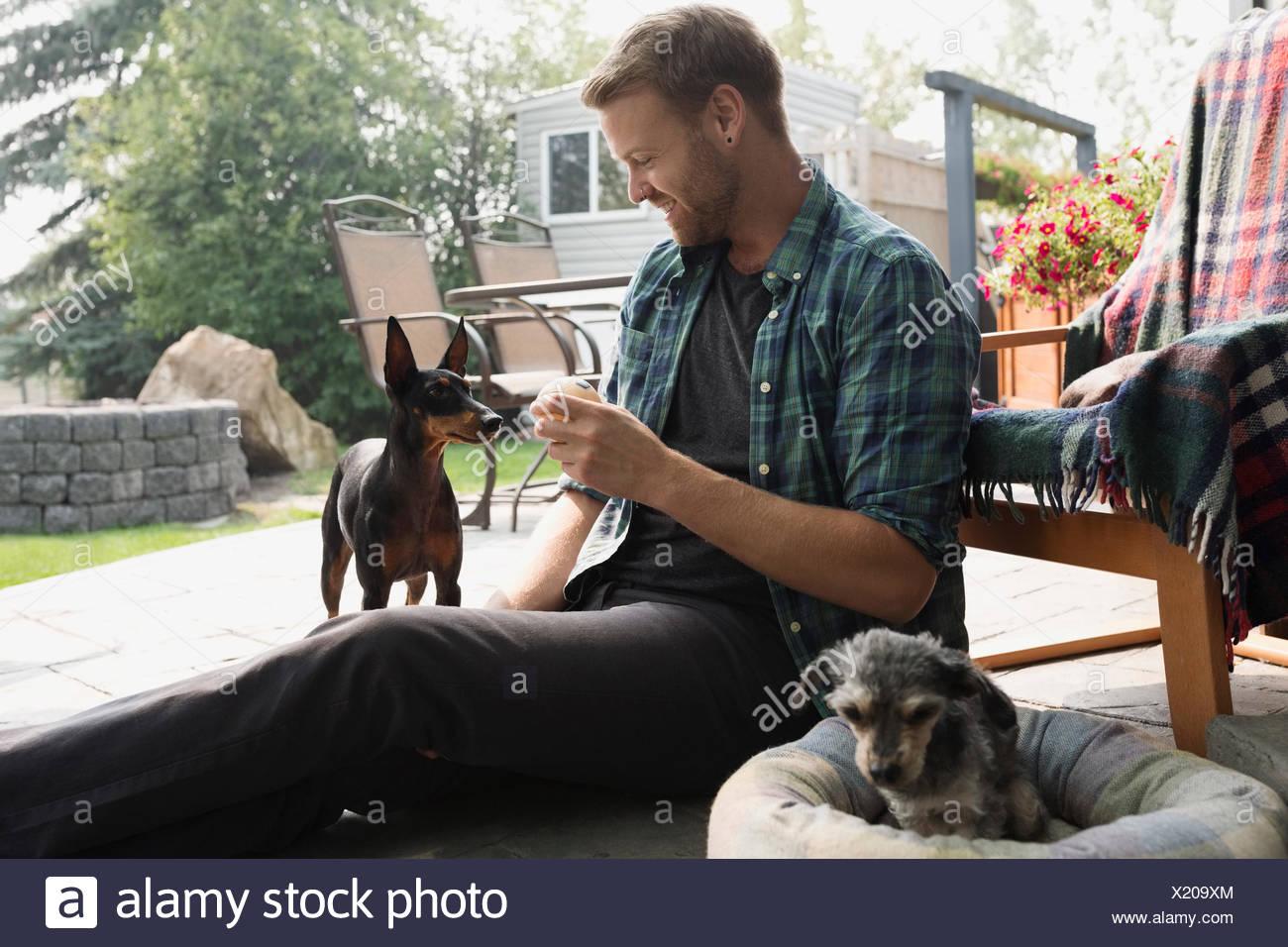 Uomo con palla da tennis per cane sul patio Immagini Stock