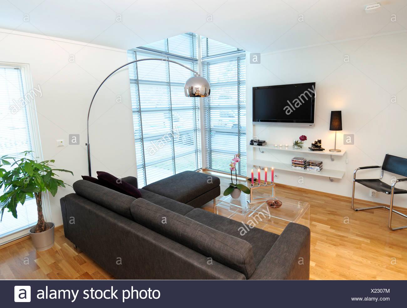 Vista di lampada da terra su nero divano con tv a schermo piatto in ...