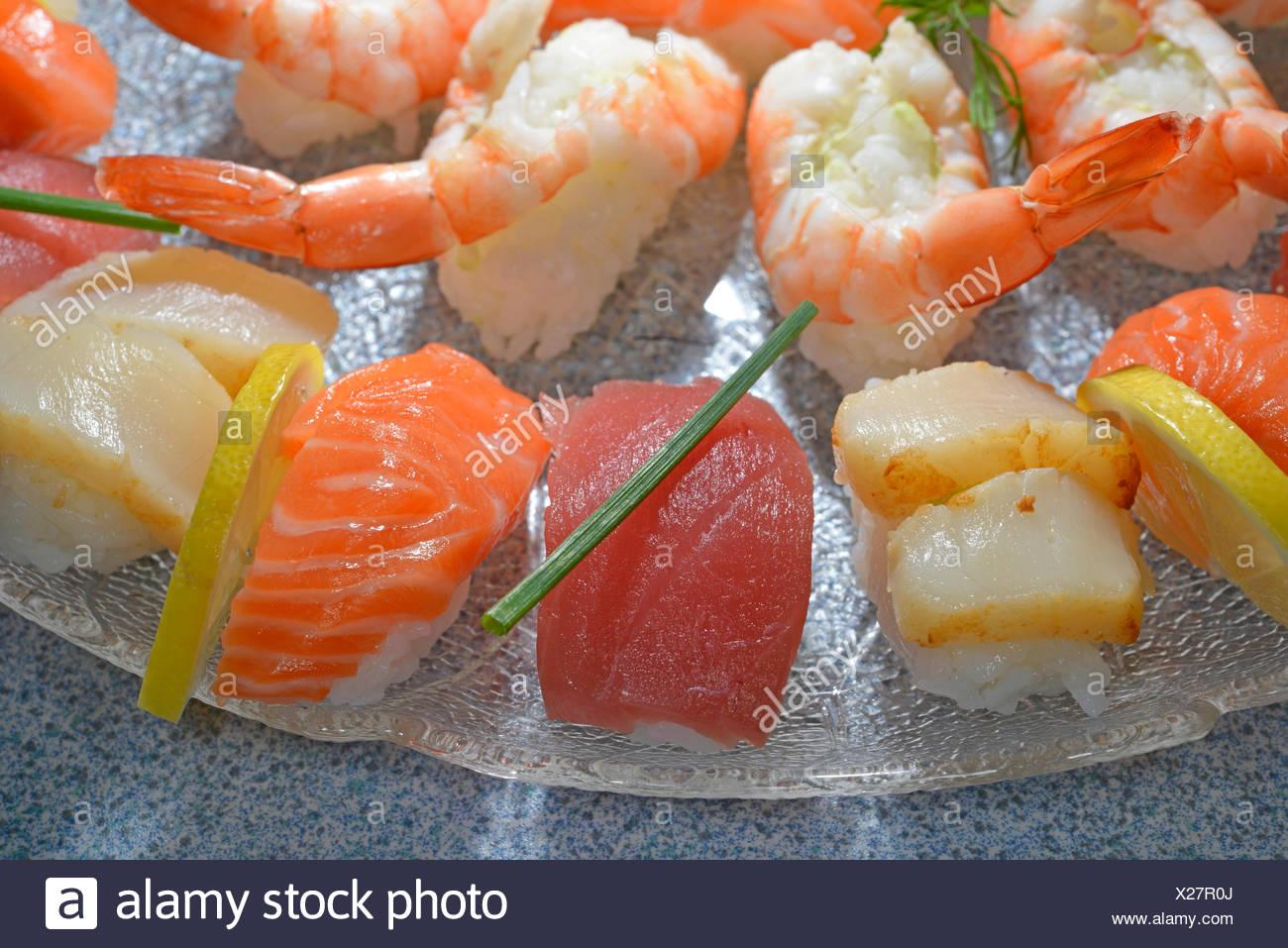 Il nigiri sushi con salmone, tonno, capesante e scampi Immagini Stock