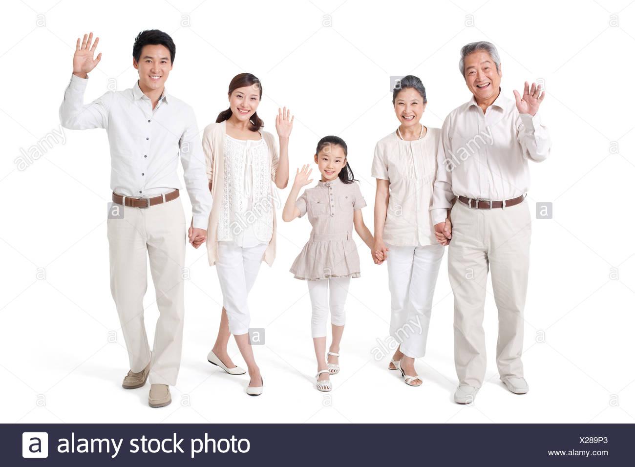 Felice famiglia Multi-Generational, Studio Shot Foto Stock