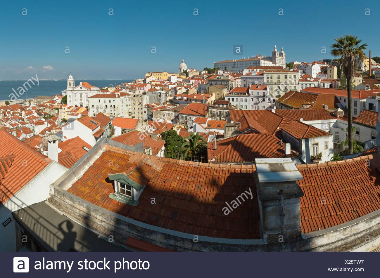 Il Portogallo, Europa, Estremadura, molla, Largo de Santa Luzia miradouro, Lisbona, Immagini Stock