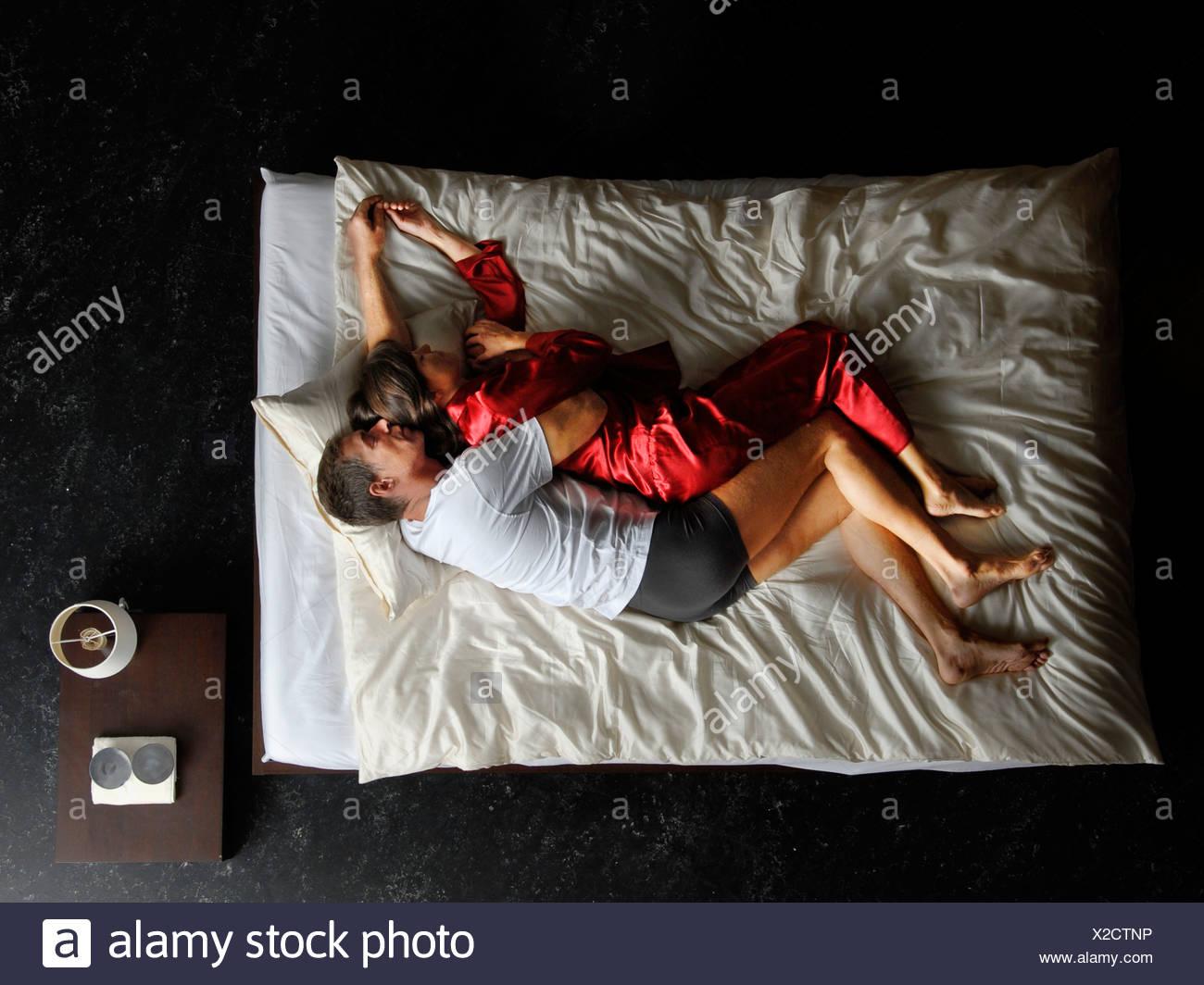 Sonno, sonno, camere da letto, letto, giacciono, sogno, donna, uomo, coppia, coppia, NOTTE, RIPOSO Immagini Stock