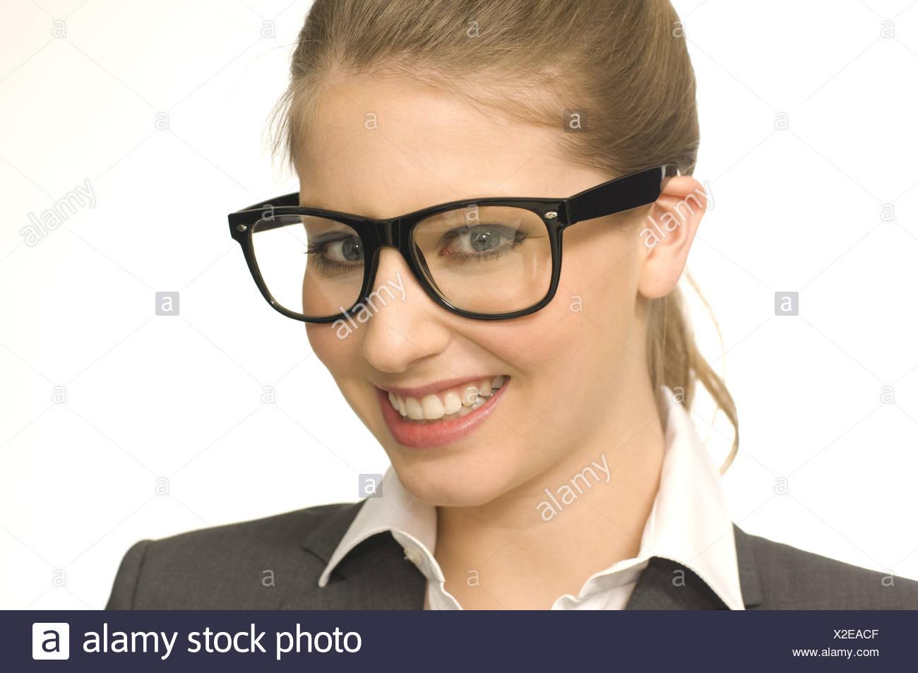 Donna con gli occhiali Immagini Stock