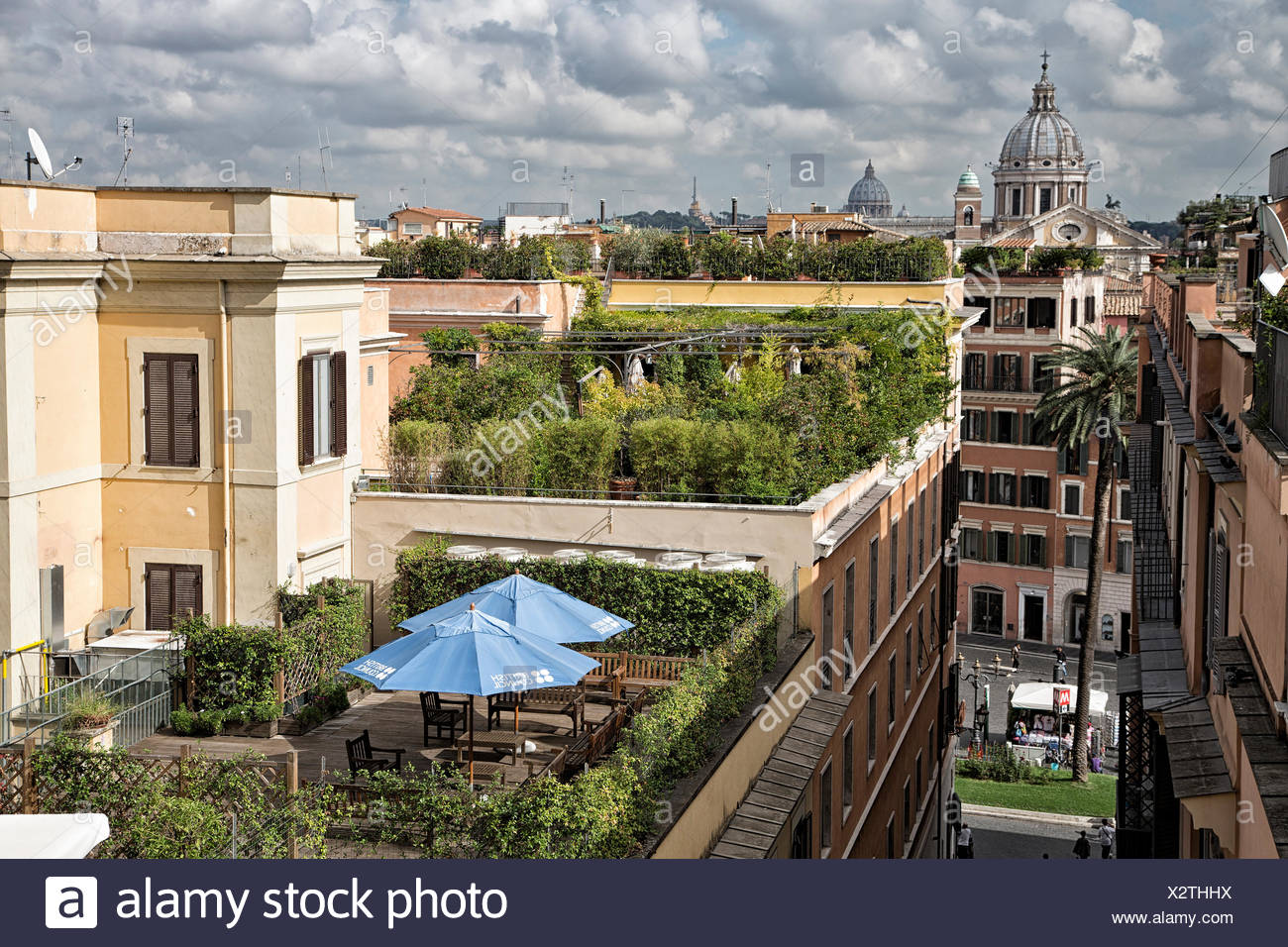 Accademia, accademia, tetto, Francia, Francia, giardino, verde, capitale, Italia, Europa, Roma, terrazza, villa Borghese, Villa Medici Immagini Stock