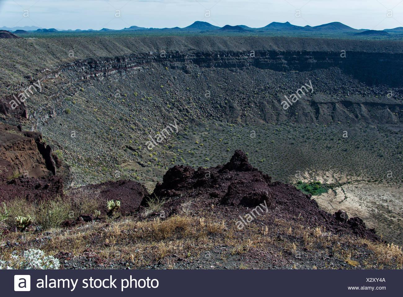Pinacate, biosfera, riserva, Messico, America Centrale, elegante cratere, il cratere, paesaggio Immagini Stock