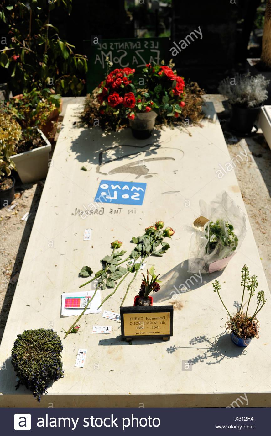 Tomba di Emmanuel Cabut, noto anche come Mano Solo, cimitero Pere Lachaise, Parigi, Francia, Europa Immagini Stock