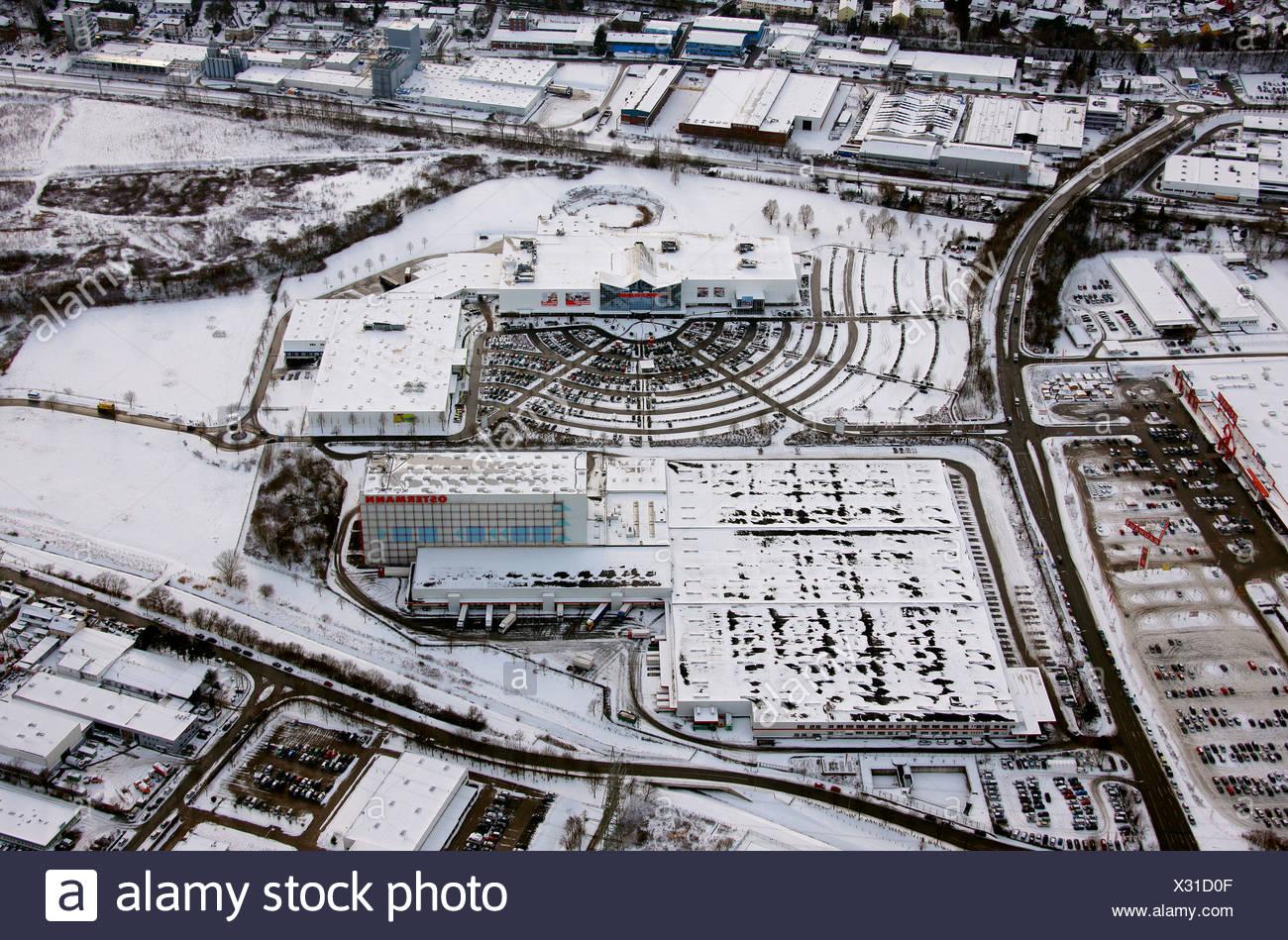 Vista aerea, furniture store Ostermann, parcheggio, neve, Witten, Ruhrgebiet regione Renania settentrionale-Vestfalia, Germania, Europa Immagini Stock