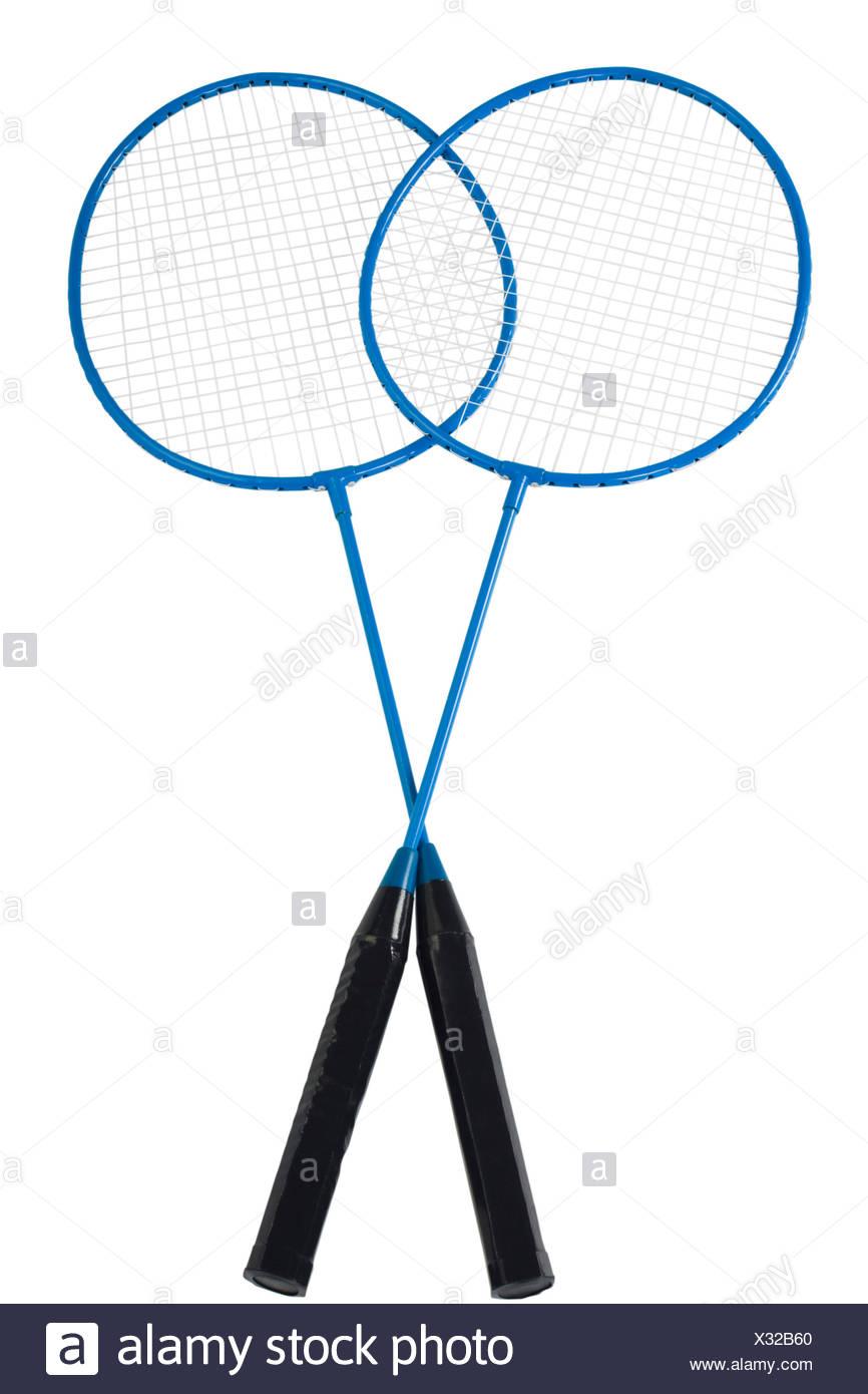 Close-up di due racchette da badminton Immagini Stock
