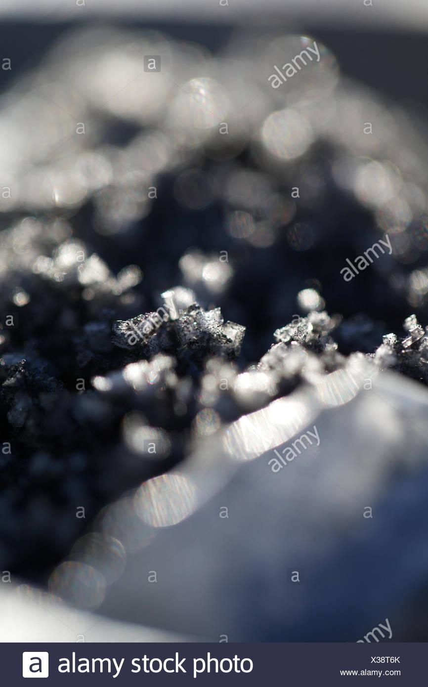 Sale di carbone. ingrediente, condimento, sale, cibo. Immagini Stock