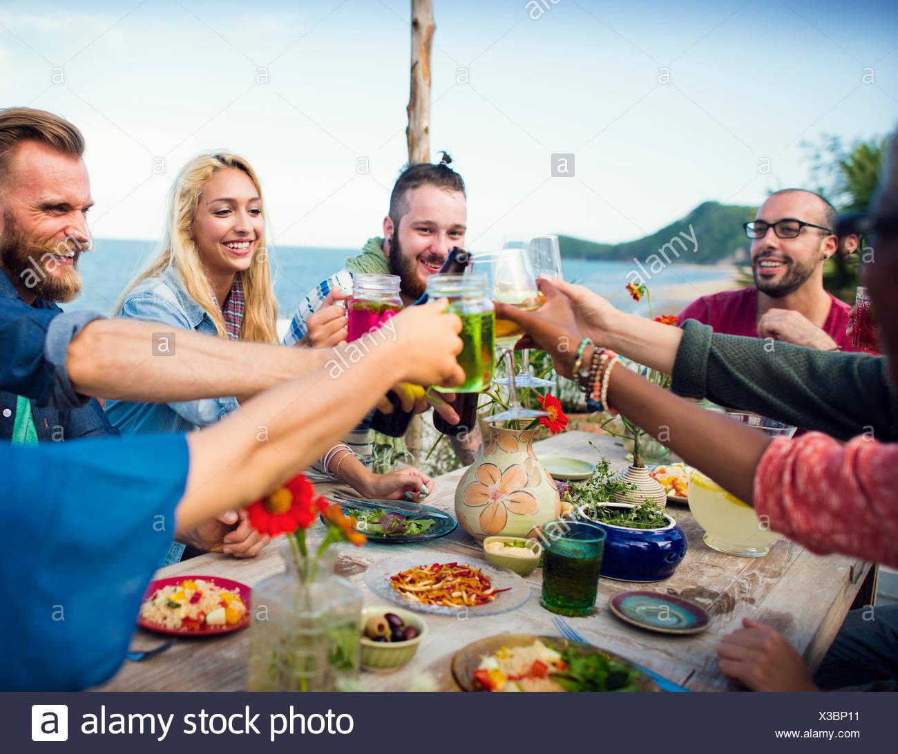 Beach Estate Cena celebrazione Concept Immagini Stock